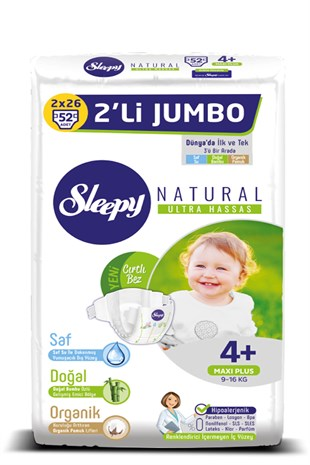 Sleepy Natural Bebek Bezi 4+ Numara Maxi Plus 9-16 KG 2Lİ JUMBO