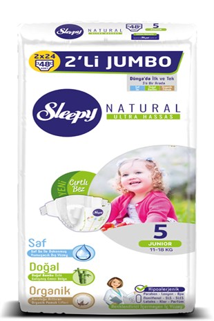 Sleepy Natural Bebek Bezi 5 Numara Junior 11-18 KG 2Lİ JUMBO