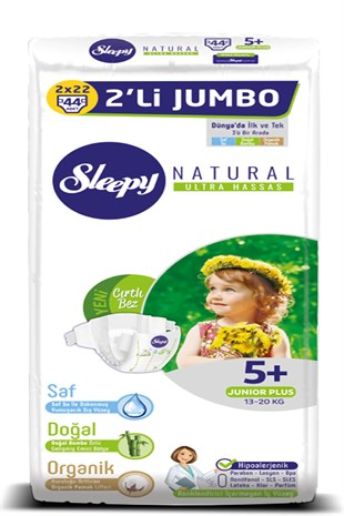 Sleepy Natural Bebek Bezi 5+ Numara Junior Plus 13-20 KG 2Lİ JUMBO